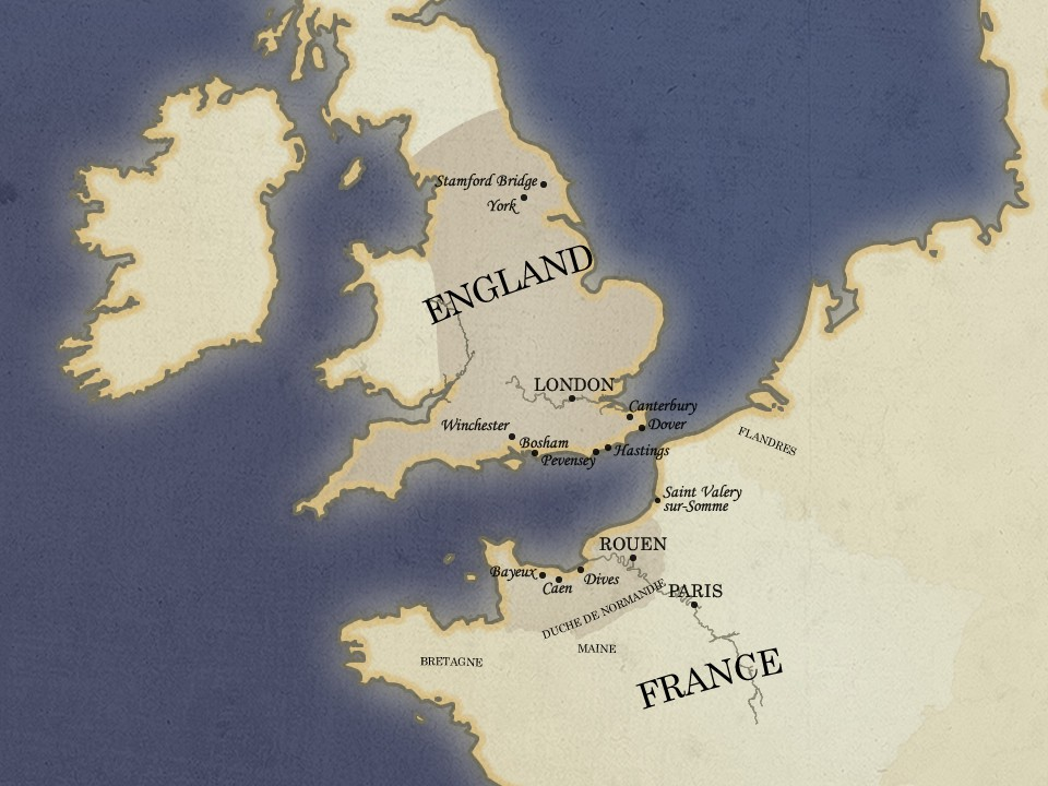 Map Of England To France.Map Of The Conquest Norman Connections Discover Norman History